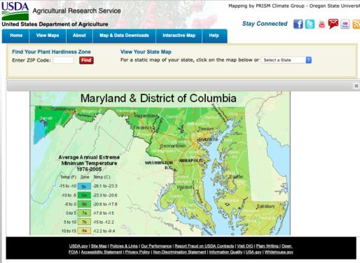 Maryland section of the USDA Plant Hardiness Zone Map