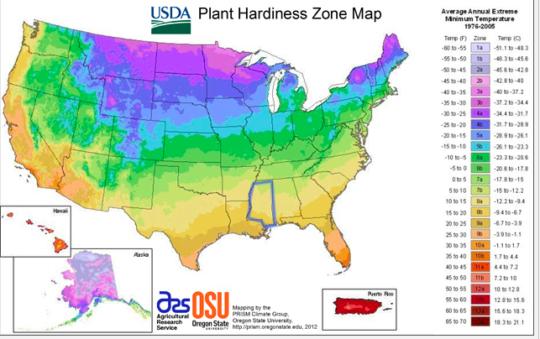 2012 USDA Plant Hardiness Zone Map