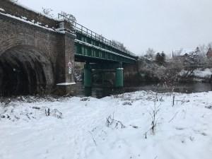 Hereford Railway bridge in the snow