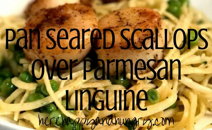 Pan Seared Scallops Over Parmesan Linguine