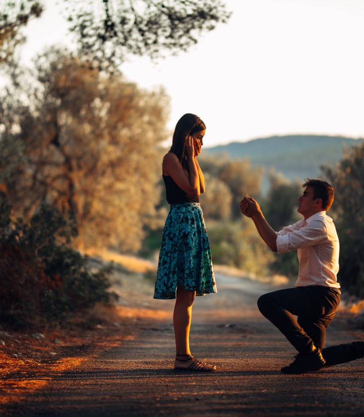 marriage proposal in forest