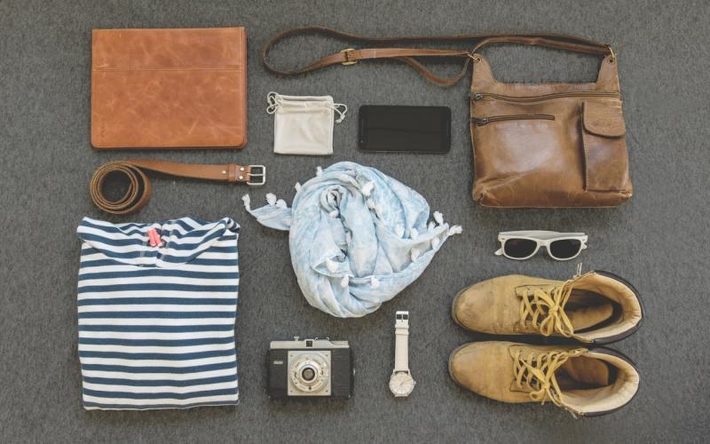 flat-lay of closet items