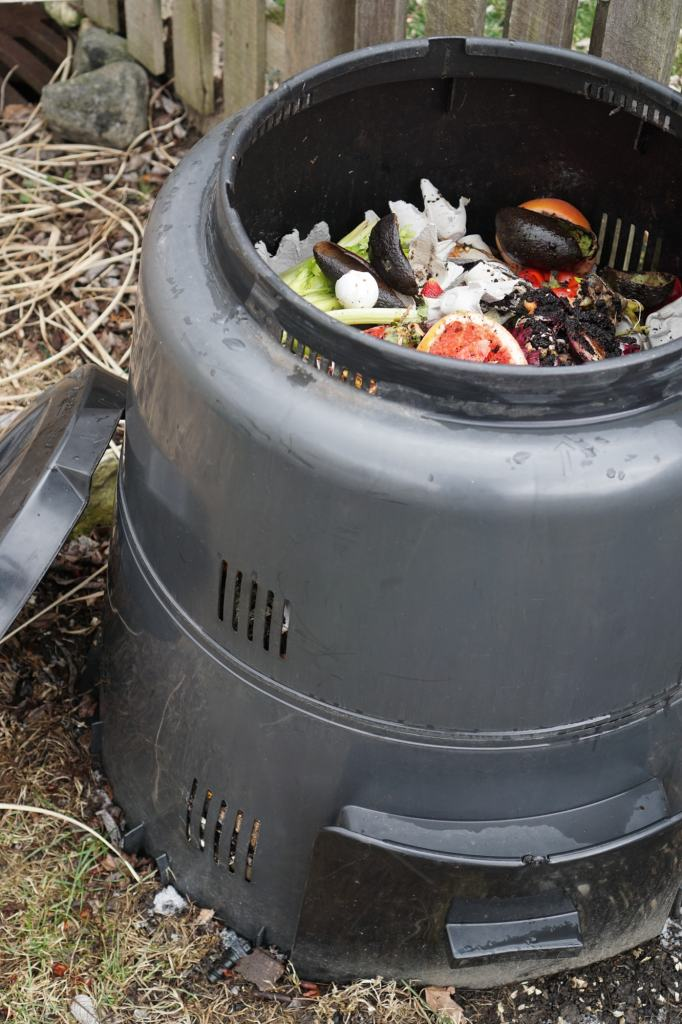 Earth Machine Composting scraps