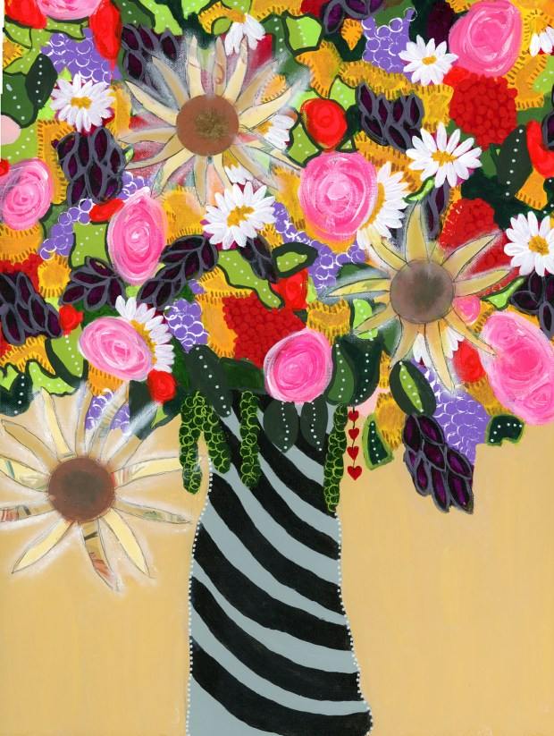 Floral Bouquet - Fine Art Print, Roses, sunflowers, mixed media painting, black and grey striped vase, yellow, pink, orange, purple, From the Garden