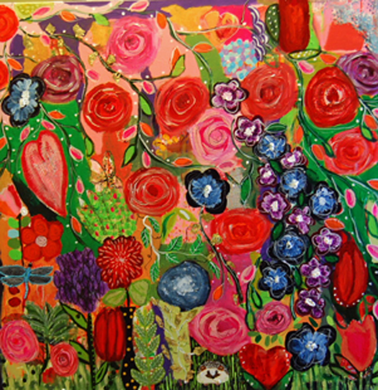 A very colorful and full painting with flowers, hearts, butterflys and vines.  The color pallet is pinks, red, purple, blues, greens and oranges.  It has hold leaf and a hedgehog too.