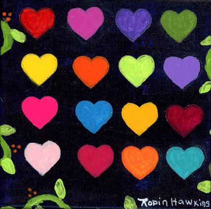 Multicolor hearts on a black background with vines and leaves.