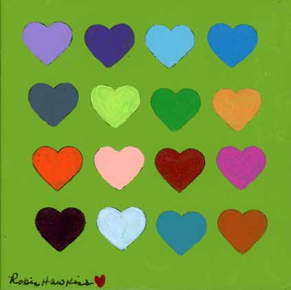 A small green painting with four rows of four hearts.  The hearts each have different colors.