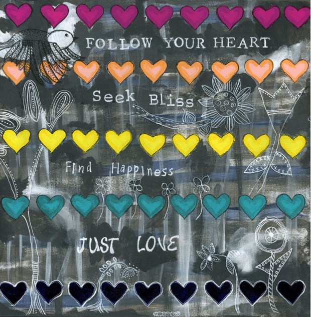 multicolored hearts, lines of hearts, indigo, peach, magenta, line art, turquoise, inspirational words, For You
