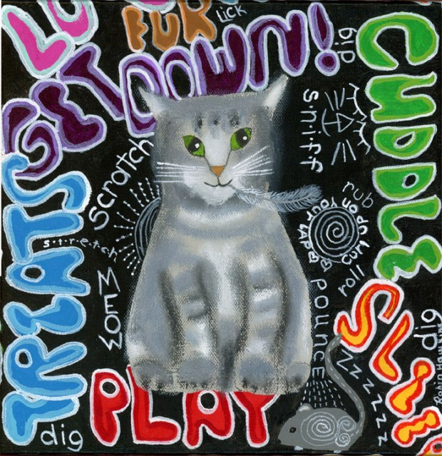 Grey tiger cat surrounds by graphic words that describe cats.