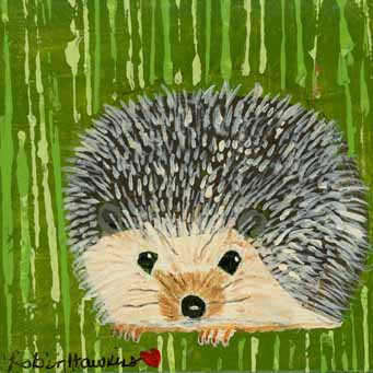 Hedgehog - Fine Art Print.....mixed media painting, hedgehog, 7.5 X 7.5, green, brown, cream