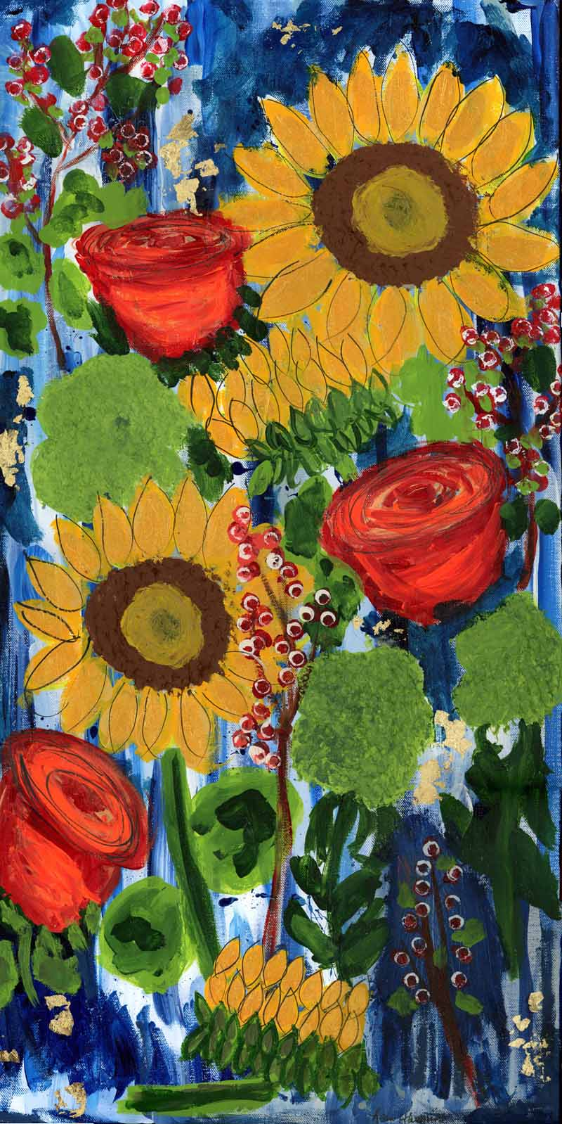 A narrow painting with a deep blue background and sunflowers, orange red tulips, green puffly plant and branches with berries and leaves.