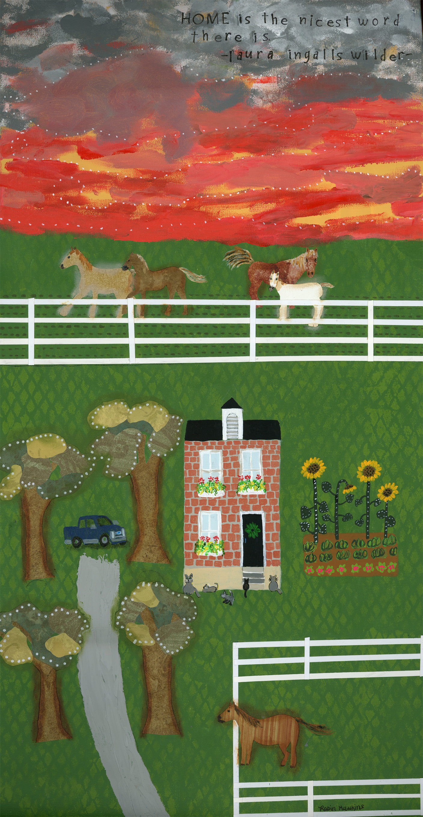 A long painting of a sunrise overlooking a pasture of horses and a vintage brick home with a tree lined drive and a pickup.  There is a garden with sunflowers and another fenced in horse that greets all the guests at the driveway.