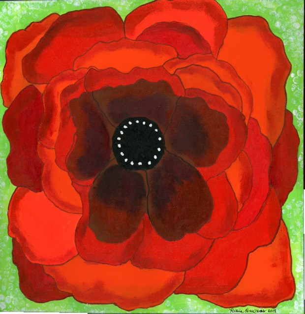 Live Out Loud, Large Red Poppy, Large Orange Poppy, Fine art print, Mixed Media Painting