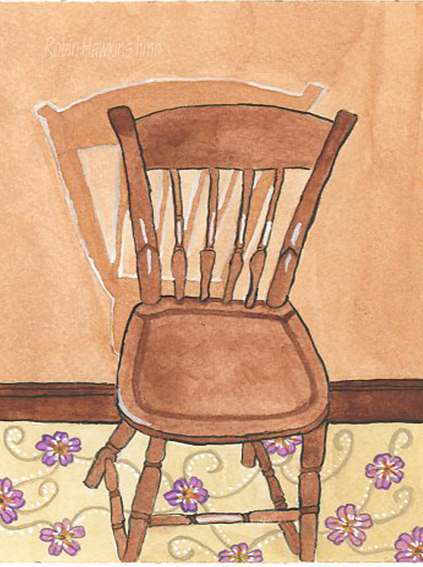A wooden thumbnail chair on flowered carpet with a distinguished shadow on the wall.