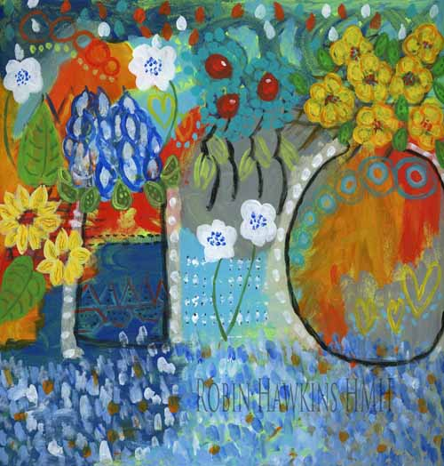 An intuitive painting with blues, oranges, reds white and yellow. Many marks and much texture.