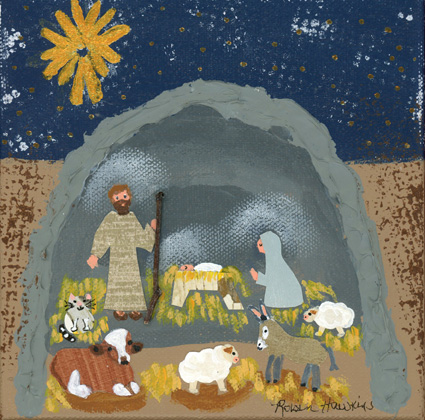 The nativity in mixed media.  They are in a grey cave with a cow, sheep, donkey and a cat.