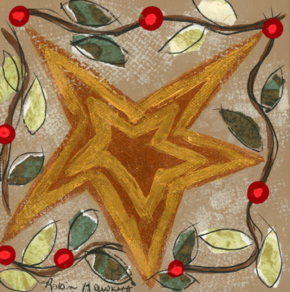 Wonky gold star with garland and red berries surrounding it.
