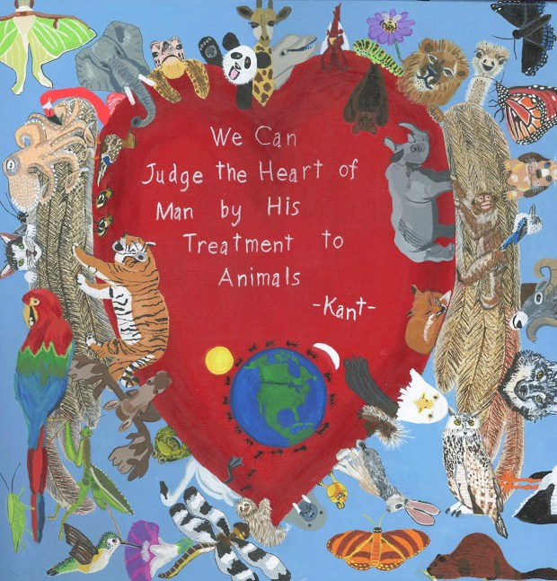 """Many animals surrounding a heart with wings that has the quote """"We Can Jusge the Heart of Man by His Treatment to Animals. Immanuel Kant."""