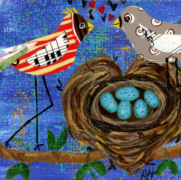 Two birds made with different papers, looking lovinly over the nest shaped like a heart with five eggs.