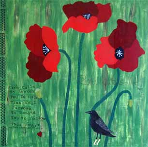 Three Red Poppies, Black Crow and Native American Quote