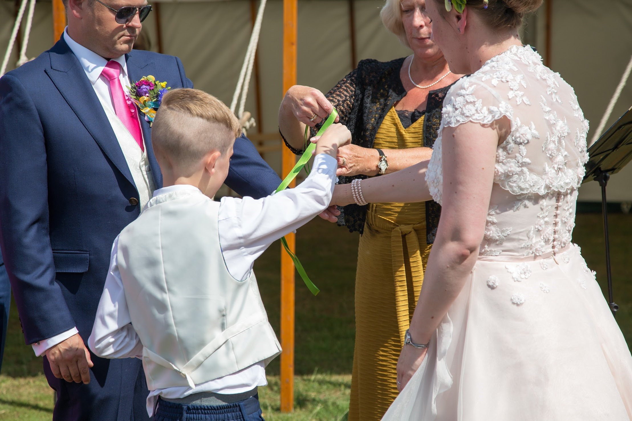 Handfasting Ceremony at a festival themed wedding