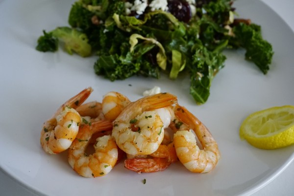 shrimp with salad