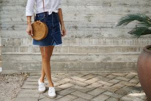 Denim Skirt with White button down