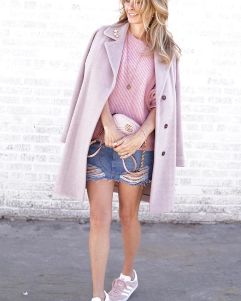 Valentine's Day Style in Pink Coat, Pink Sweater, TopShop Denim Skirt, Gucci Bag and Pink Adidas Sneakers - Her Fashioned Life