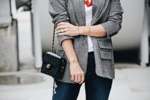 Chanel bag with Menswear plaid jacket style - Her Fashioned Life