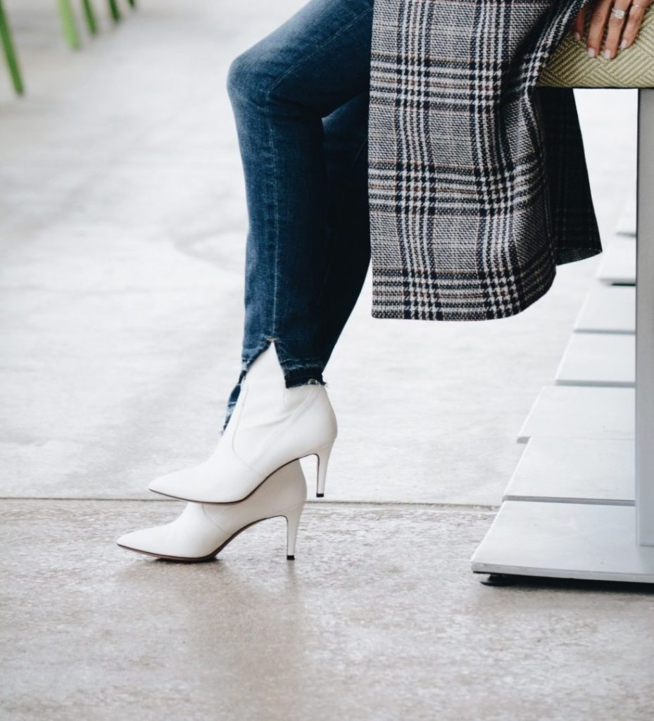 White Boots with Plaid Jacket - Her Fashioned Life