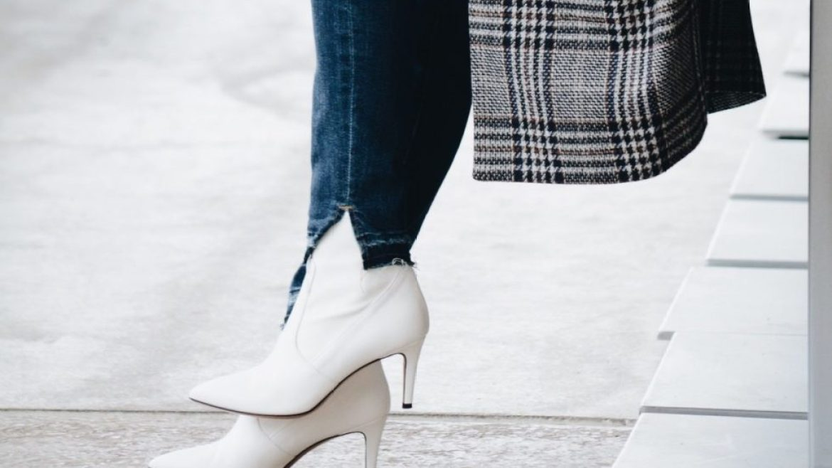 White boots with plaid