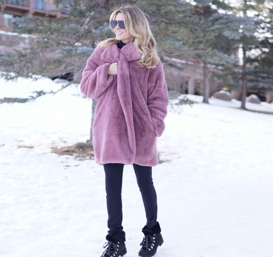 Lavender Furry Coat Trend - Her Fashioned Life