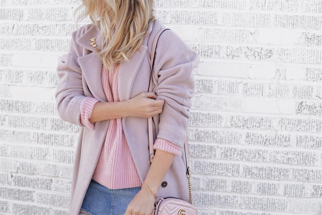 Pink Coat, Pink Sweater, Denim Skirt, Gucci Bag - Valentine's Day Style by Her Fashioned Life