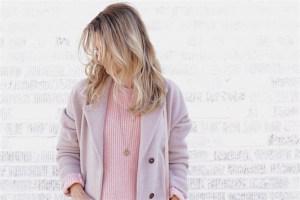 Pink sweater denim skirt