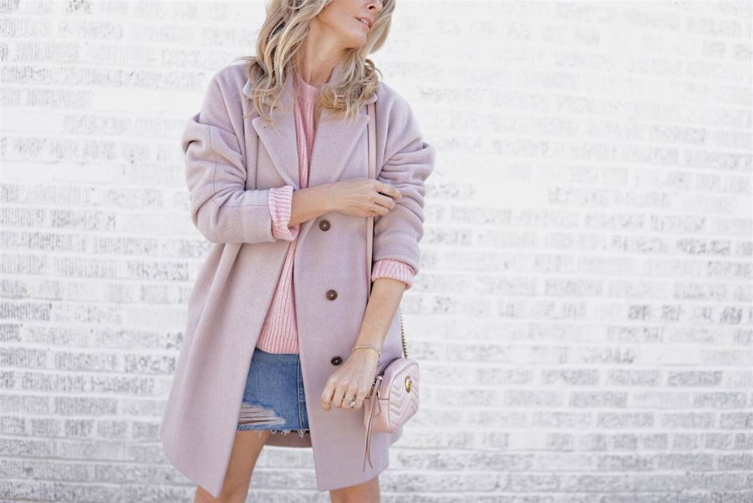Pink Coat, Pink Sweater, Denim Skirt, Gucci Bag - Valentine's Day Style | Her Fashioned Life