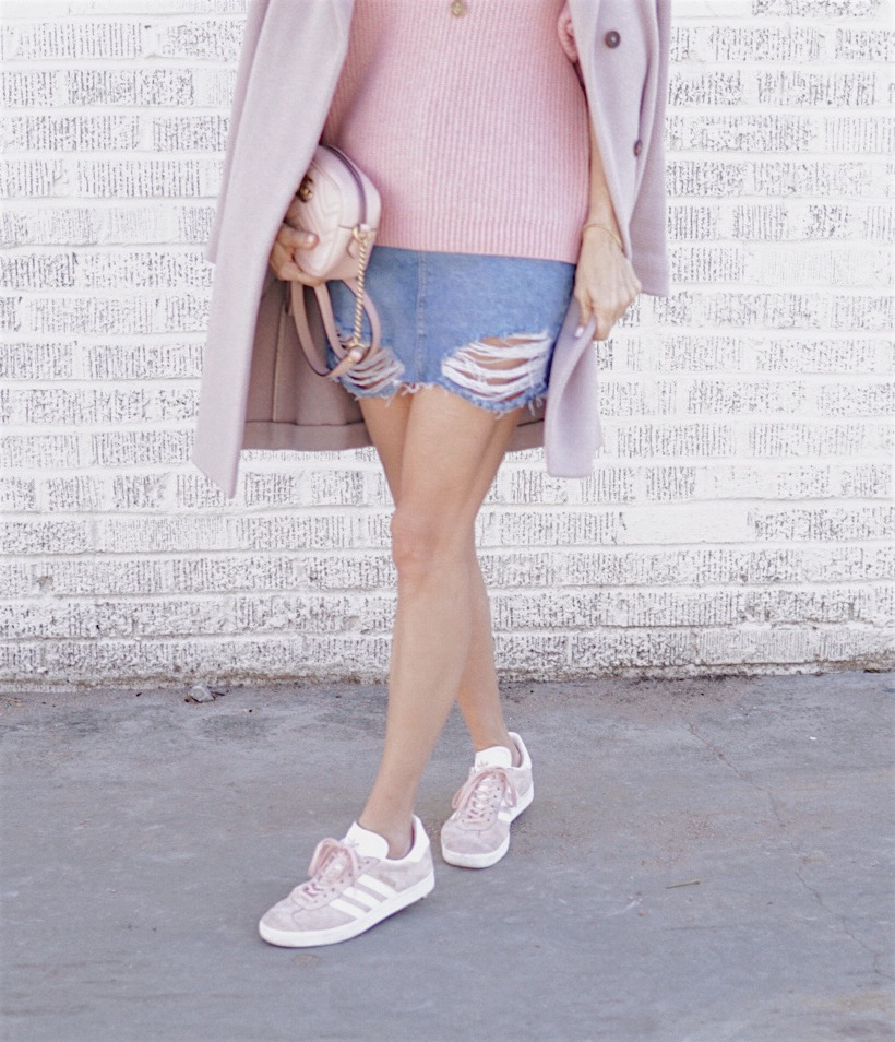 Pink sweater denim skirt