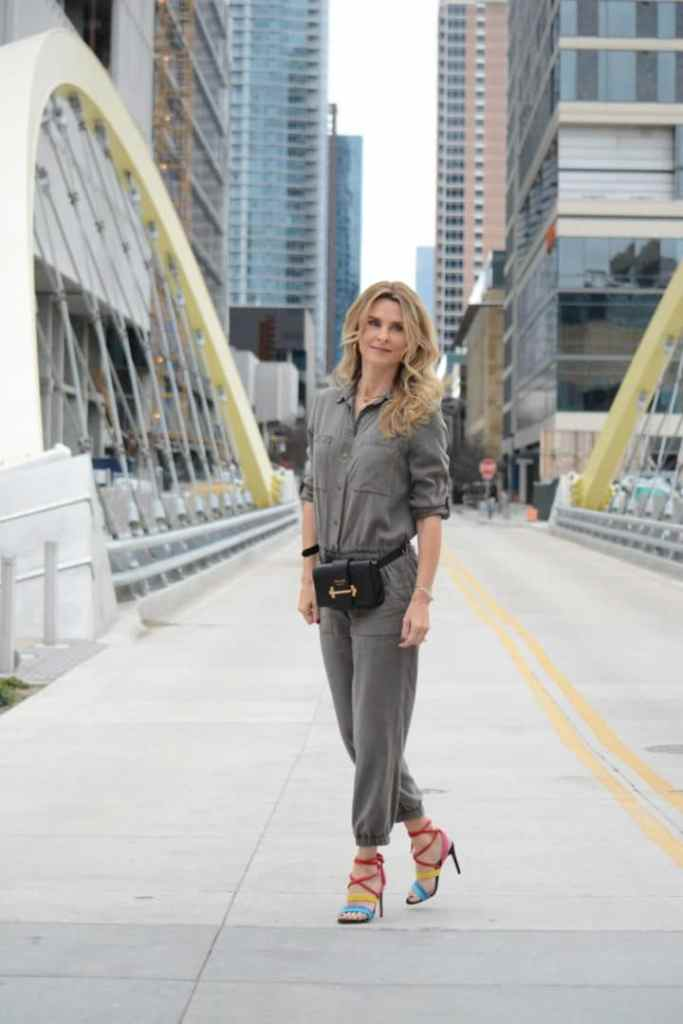 Utility Jumpsuit Trend with Rainbow Heels - Her Fashioned Life