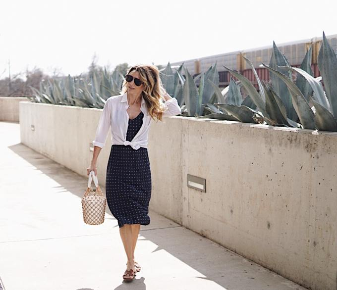 Vince Slip Dress With Staud Bucket Purse