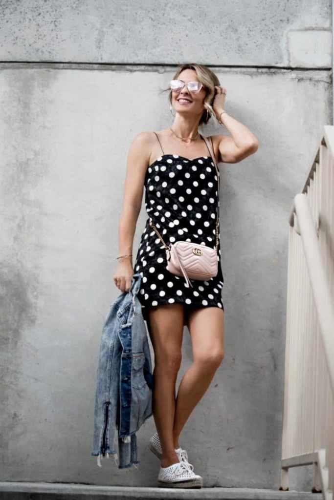 Polka dot dress with denim jacket