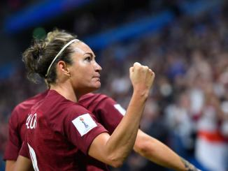 England's forward Jodie Taylor celebrates after scoring the opening goal during the France 2019 Women's World Cup Group D football match between England and Argentina, on June 14, 2019, at the Oceane Stadium in Le Havre, northwestern France.