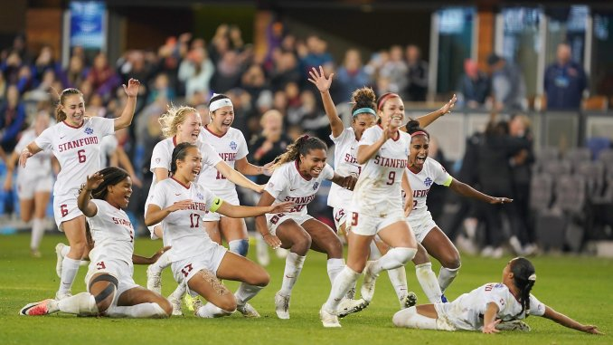 Stanford Cardinal players celebrate their 2019 NCAA title win.