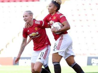 Leah-galton-and-lauren-james-celebrate-for-man-united