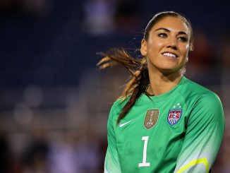 Hope Solo looks on after winning a match against Germany in the 2016 SheBelieves Cup.