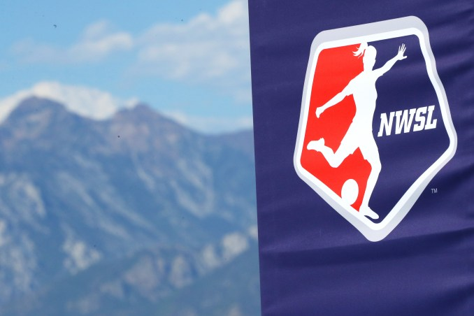 An NWSL logo sign before the quarterfinal match of the NWSL Challenge Cup between the Houston Dash and the Utah Royals FC at Zions Bank Stadium on July 17, 2020 in Herriman, Utah.