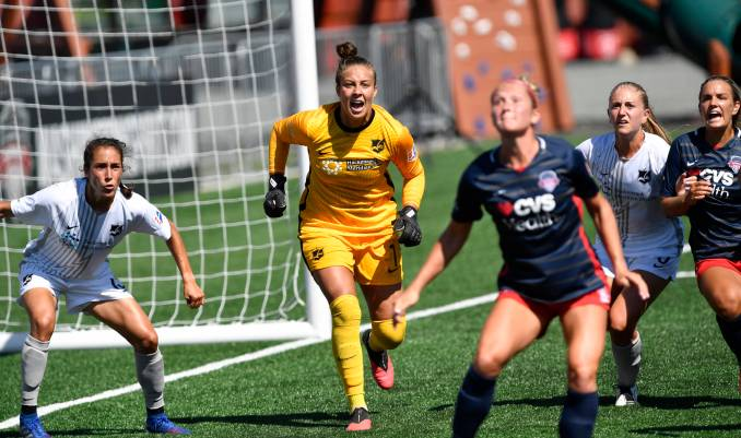 Sky Blue FC goalie Kailen Sheridan shouts as the ball is kicked to the front of the net during the NWSL Falls Series game between Sky Blue FC and Washington Spirit on September 5, 2020.