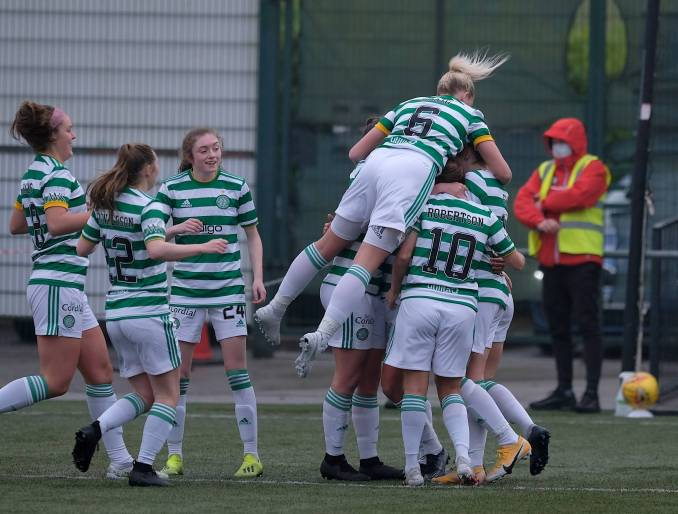 Bobbie Beveridge of Spartans tries to clear but the ball struck Sarah Ewens of Celtic and looped into the net for the only goal of the game during the Scottish Womens Premier League match at K-Park in East Kilbride, Scotland.