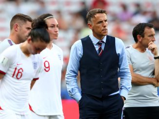 Phil Neville looks dejected following his side's defeat in the 2019 FIFA Women's World Cup third place match between England and Sweden.