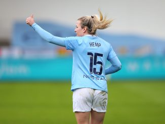 Lauren Hemp of Manchester City celebrates after scoring.