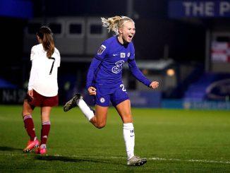 Chelsea's Pernille Harder celebrates her goal against Arsenal.