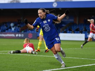 Chelsea's Fran Kirby celebrates scoring her side's second goal.